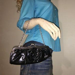 Bags - Black Wet Look Floral Applq Evening Bag